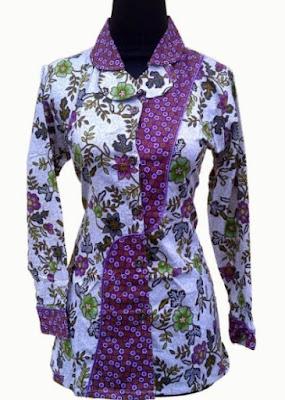 Model Baju Batik Kombinasi Polos terbaru