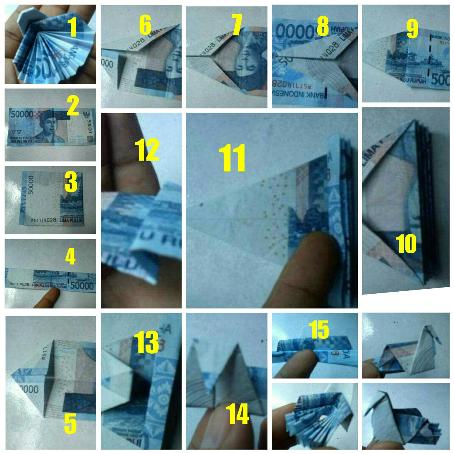 Tutorial Membuat uang kertas dari burung merak