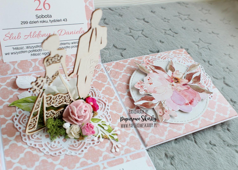 exploding box eksplodujące pudełko na ślub ślubne kartka gratulacyjna cyfrowe stemple pastelowe pastele róż mech z mchem