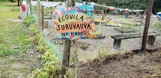 Moradores da Ecovila Juruvaúva, na Ilha,  no plantio de um dos maiores e mais variados pomares do município