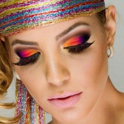 maquiagem colorida, carnaval