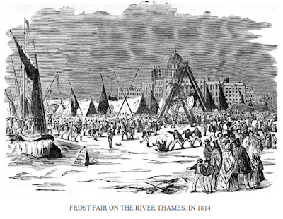 Frost fair on the River Thames in 1814  from Famous Frosts and Frost Fairs by WAndrews (1887)