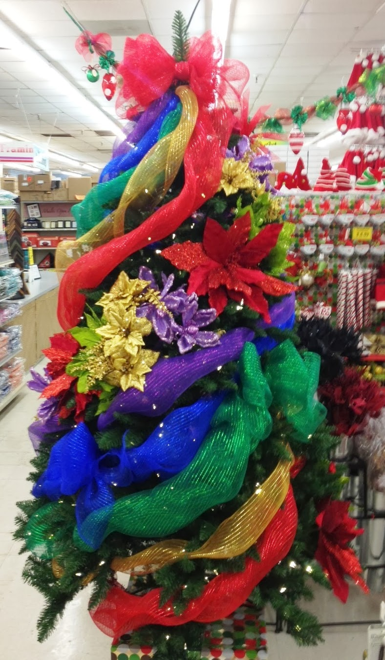 Ideas and Inspirations: Rainbow Deco Mesh Christmas Tree