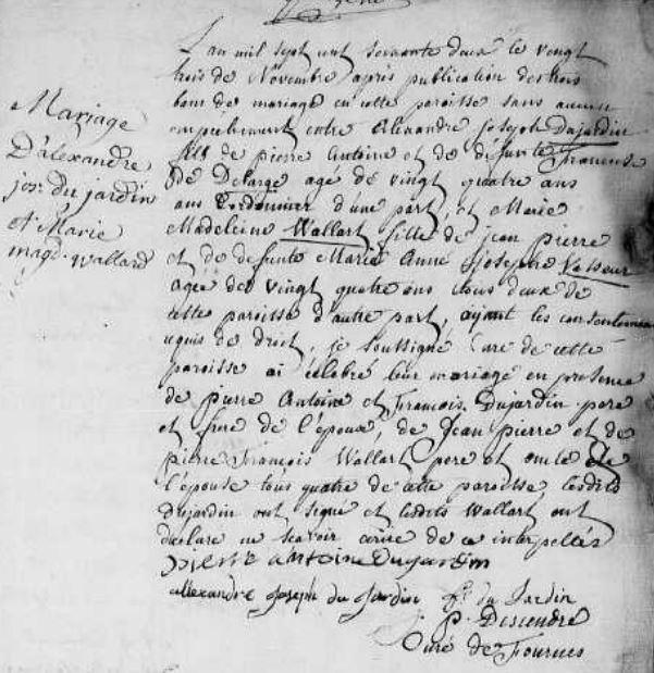 Acte de mariage de Marie Madeleine WALLARD et d'Alexandre DUJARDIN
