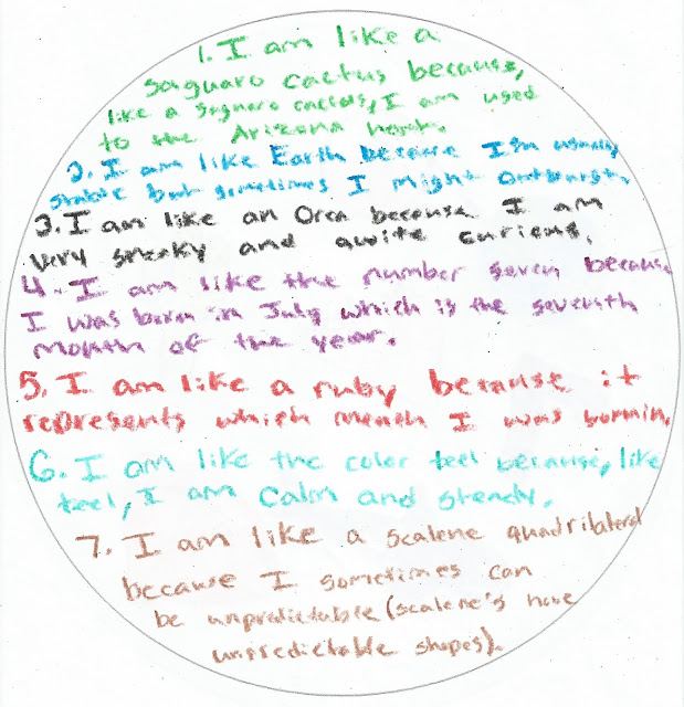 Similes and Symbols of Me Lesson grades 4-8