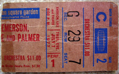 Emerson Lake & Palmer ticket stub July 7, 1977 Madison Square Garden