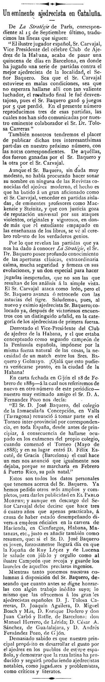 Recorte de El Pablo Morphy, 15/10/1891