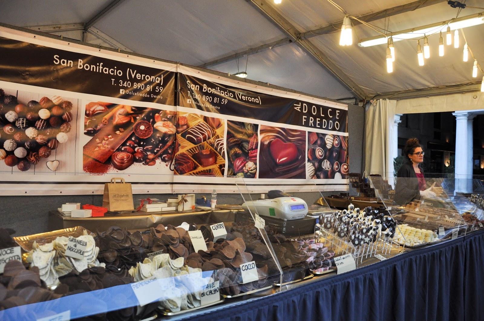 A chocolate maker stall, Chocolate Festival, Piazza dei Signori, Vicenza, Veneto, Italy