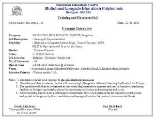 Diploma Job Campus Placement Drive in Motichand Lengade Bharatesh Polytechnic Belagavi, Karnataka
