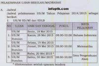Ujian Sekolah yang dulunya dikenal dengan Ujian Nasional  Jadwal Ujian Sekolah (US) Sekolah Dasar dan Madrasah Ibtidaiyah