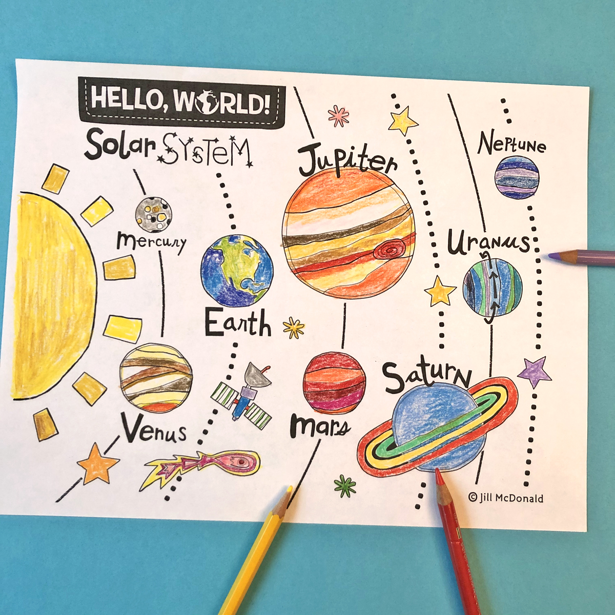 Show And Tell Solar System Coloring Page