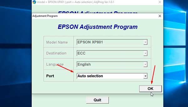 Resetting Epson XP-801