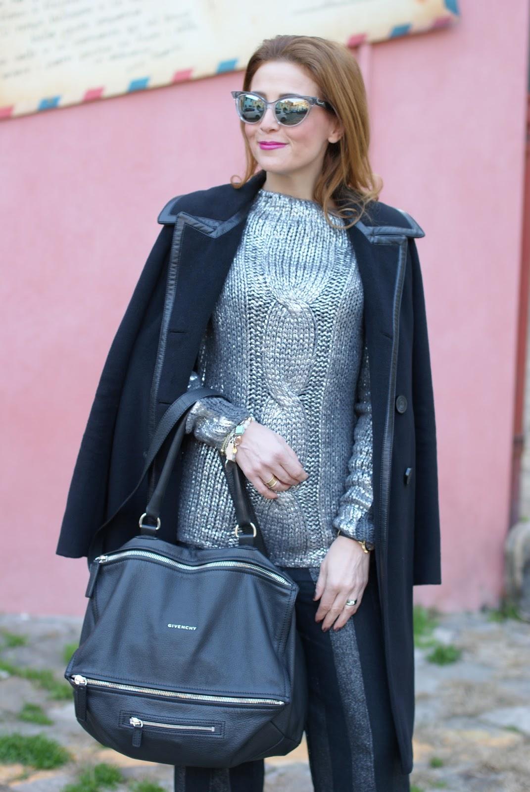 Balenciaga black coat with leather trim and Givenchy Pandora bag on Fashion and Cookies fashion blog, fashion blogger style