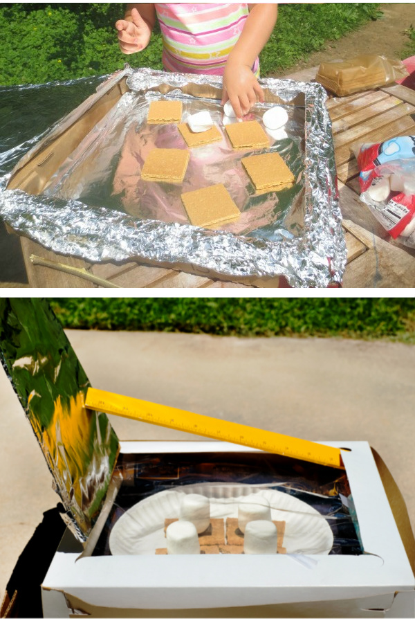 Make s'mores without fire!  Fun science for kids. #solarsmores #solaroven #solarsmoresforkids #scienceexperimentskids #growingajeweledrose