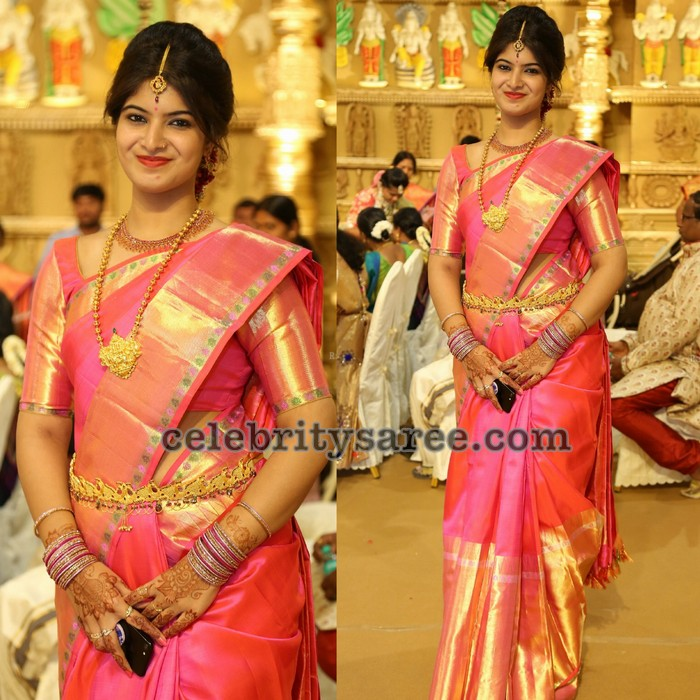 Light Pink Color Pure Silk Saree With Large Gold Border White Stripes Embellished On The Paired Elbow Length Sleeves Golden Blouse In Dual