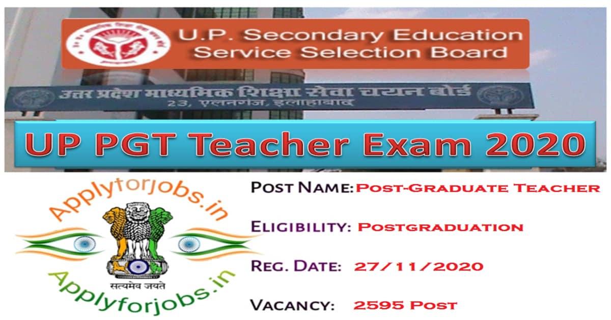 UP PGT Teachers Recruitment 2020, applyforjobs.in
