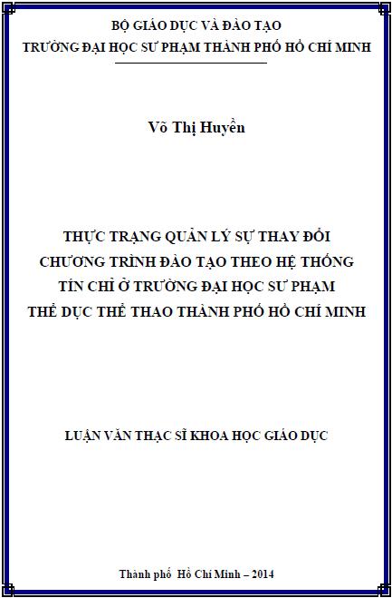 Thực trạng quản lý sự thay đổi chương trình đào tạo ở trường Đại học Sư phạm Thể dục thể thao thành phố Hồ Chí Minh