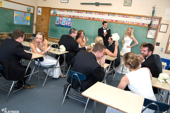 fun teacher wedding photos