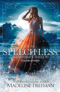 A red-headed teenage girl in an orange formal dress standing on a beach with a breaking wave behind her and famed by a full moon, one hand raised to her forehead as she tilts her head back.