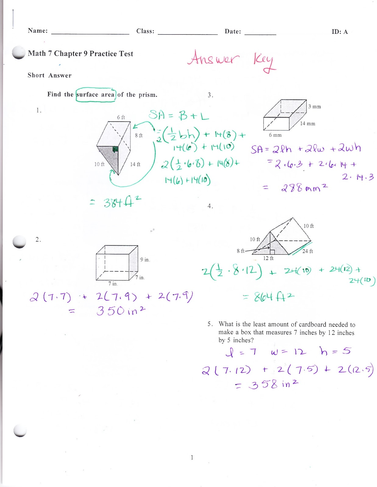 Ms  Jean's Classroom Blog: Math 7 Chapter 9 Practice Test Answers