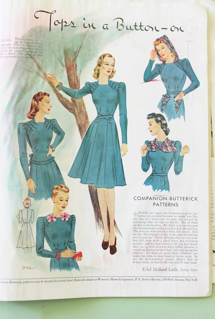 1930s and 1940s womens color fashion magazine dresses