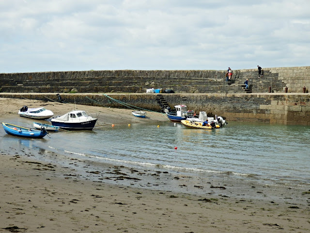 Polkerris Harbour with boats