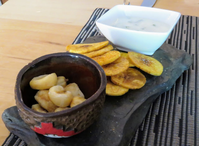 Corn and plantain appetizer at Afrigonia Restaurant in Puerto Natales Chile
