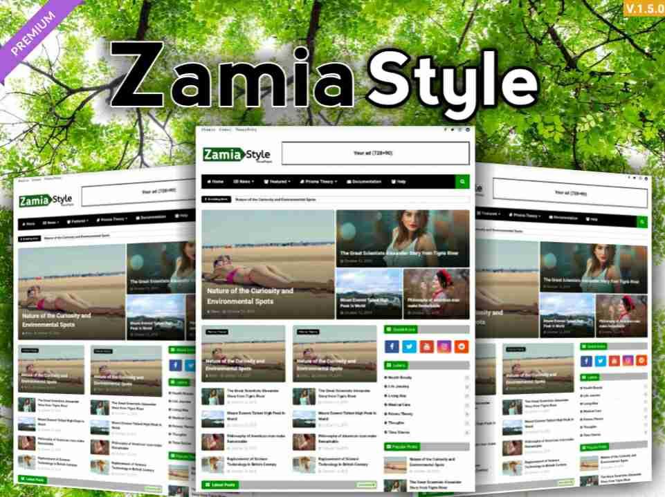 Zamia Style Premium Responsive blogger Template
