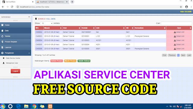 Source Code Aplikasi Service Center Berbasis Web