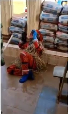 """""""Oga Abeg"""" - Masquerade Cry And Shouts As He Gets Flogged By A Soldier (VIDEO)"""