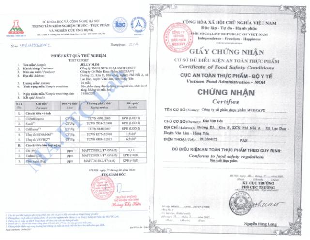 giấy chứng nhận sản phẩm an toàn thực phẩm