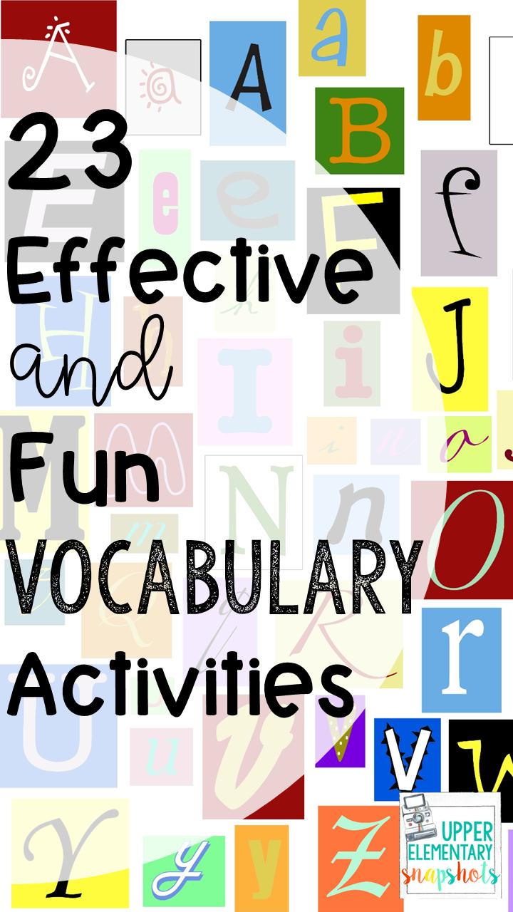 23 Effective Vocabulary Activities   Upper Elementary Snapshots [ 1280 x 720 Pixel ]