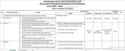 Program Kerja Pasibra TP 2019/2020 SMP/MTs, SMA atau untuk yang sederajat, http://www.librarypendidikan.com/