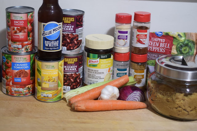 The ingredients needed to make the perfect vegan chili.