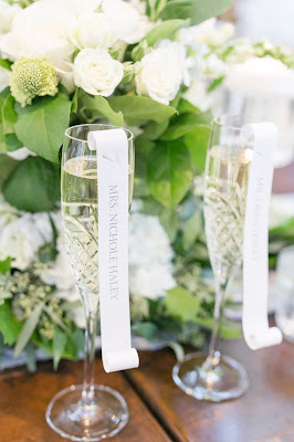 unique wedding place cards using champagne glasses