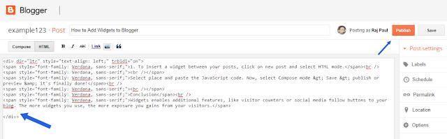 widgets between blog posts