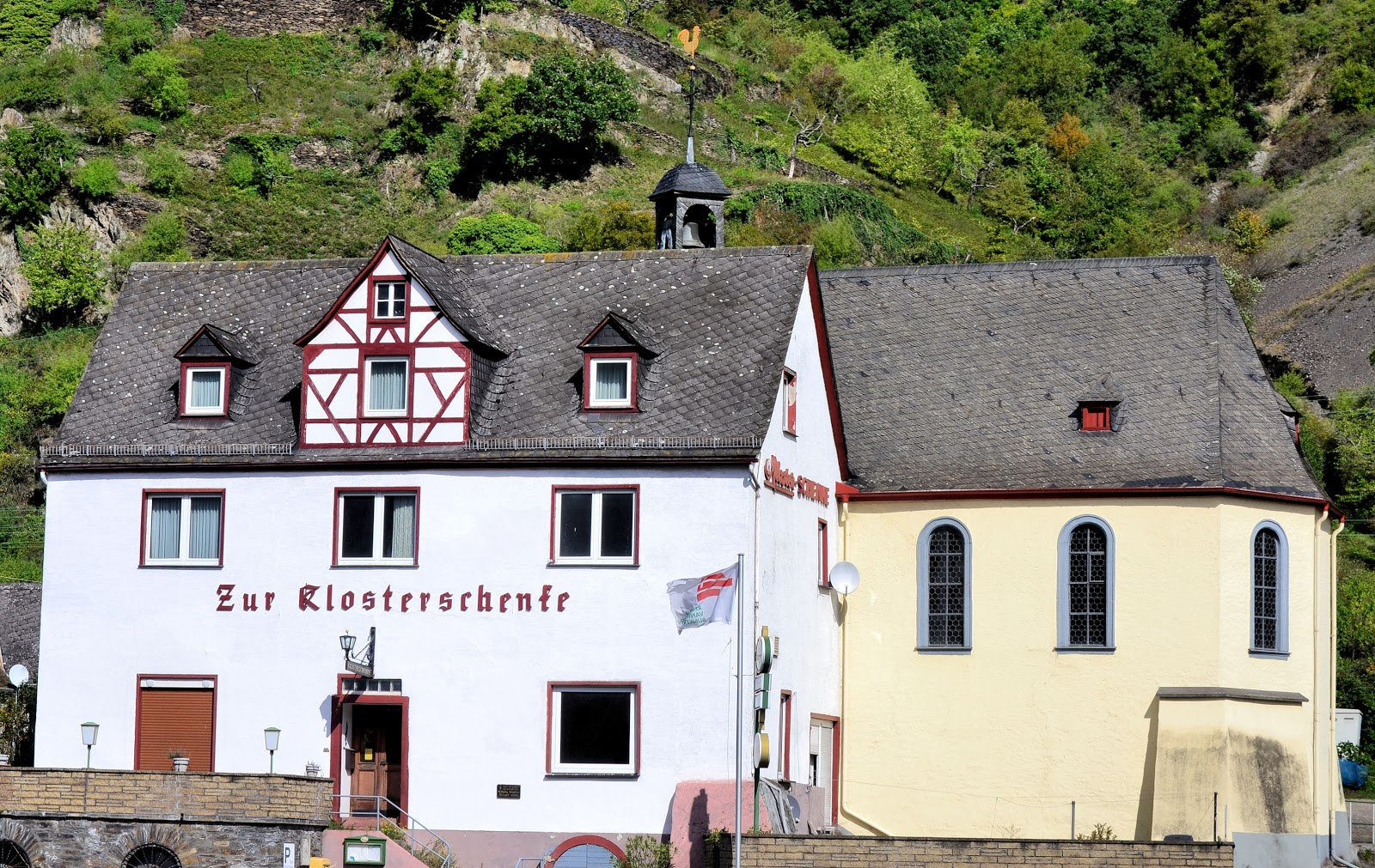 Zur Klosterschenke combines worship with drinking in one stop. Note the rooster at the top of the cupola indicating a Protestant Church.