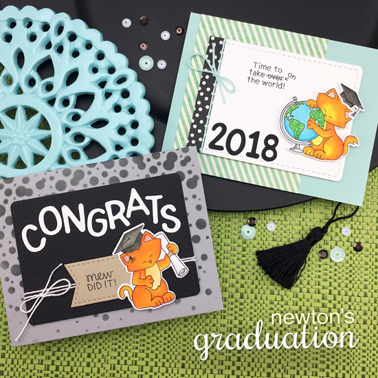 Graduation Cards by Jennifer Jackson | Newton's Graduation Stamp Set and Essential Alphabet Die Set by Newton's Nook Designs #newtonsnook #handmade