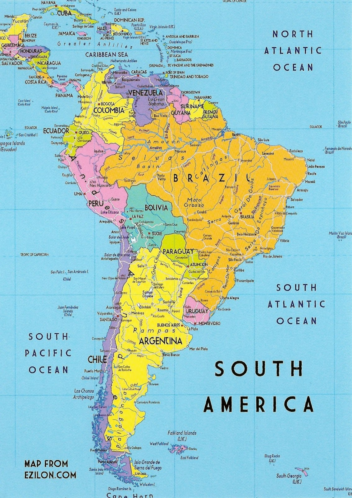 Map Of South America 2017.My Favorite Postcards A Map Of South America