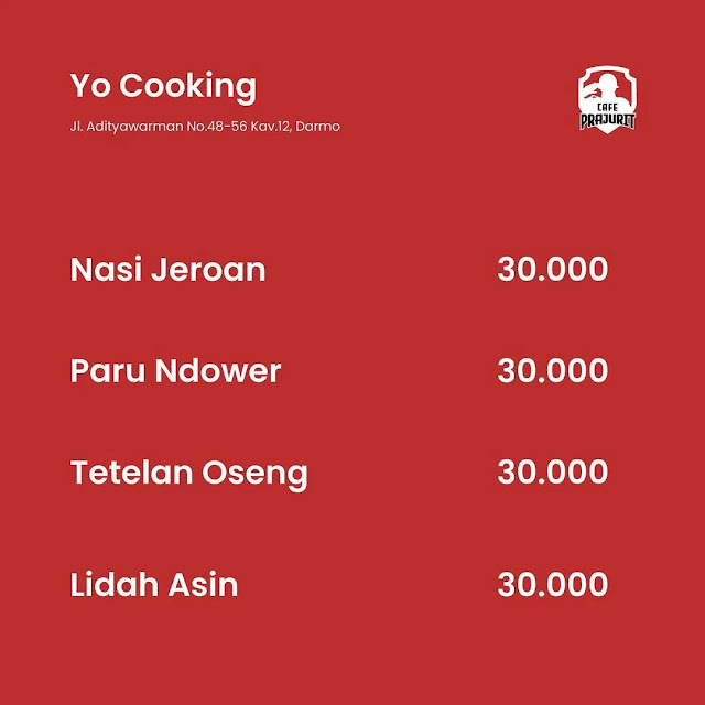harga menu yo cooking cafe prajurit