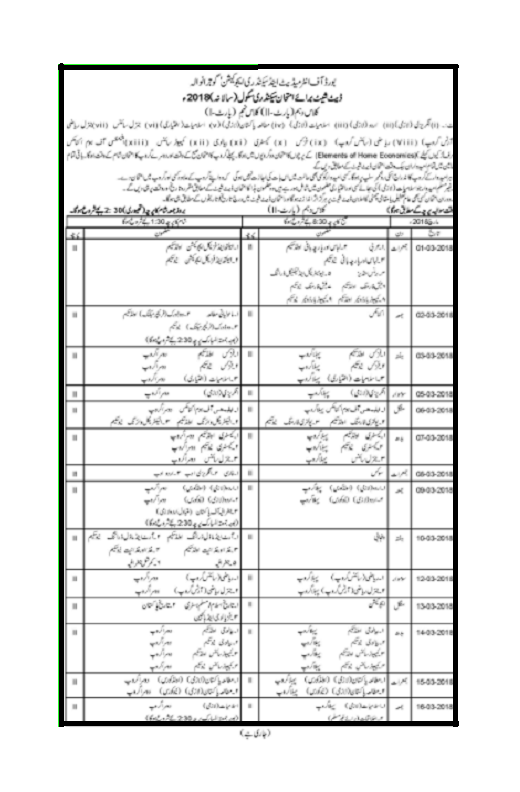 9th And 10th Class Date Sheet Gujranwala board 2018, Date Sheet 2018 Gujranwala BISE, Download 10th Date Sheet, Download 9th Class Date Sheet,