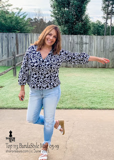 Button Front top 113 from BurdaStyle Magazine May 2019 Sharon Sews