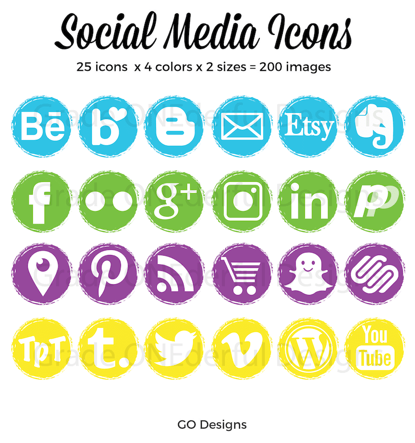 Social media icons in pretty party colours of blue, green, purple and yellow