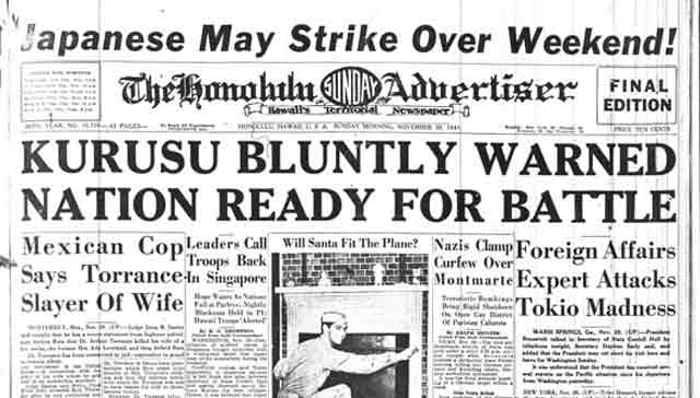 The Honolulu Advertiser headline, 30 November 1941 worldwartwo.filminspector.com