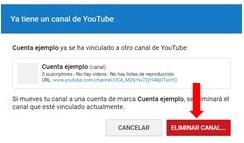 Eliminar canal de youtube