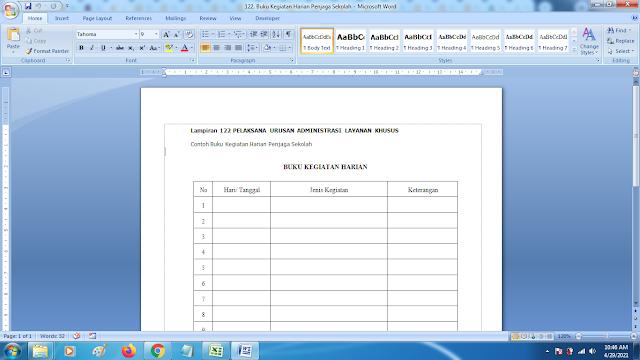 Contoh Format Buku Kegiatan Harian Penjaga Sekolah SD SMP SMA dan SMK