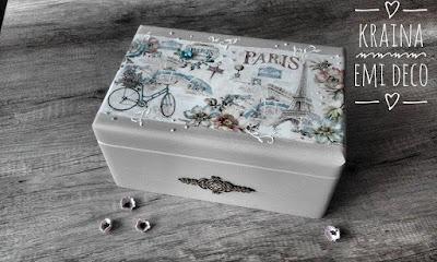 Skrzynka z Paryżem na beżowo