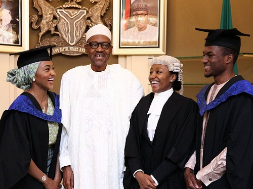 3 of President Buhari's Daughter Graduate, 1 Call To bar; The President Celebrates