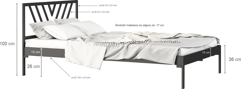 Łóżko metalowe Sidney (wzór 5) (140-160 cm)