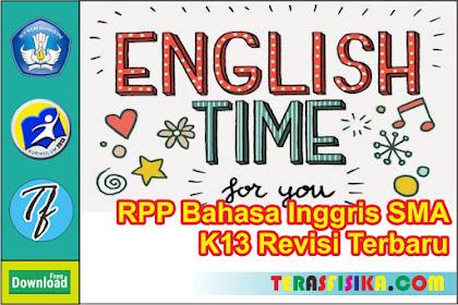 Download RPP Bahasa Inggris Kelas 12 SMA K13 Update 2019